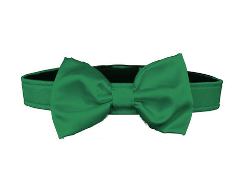 satin green bow tie for dog in wedding