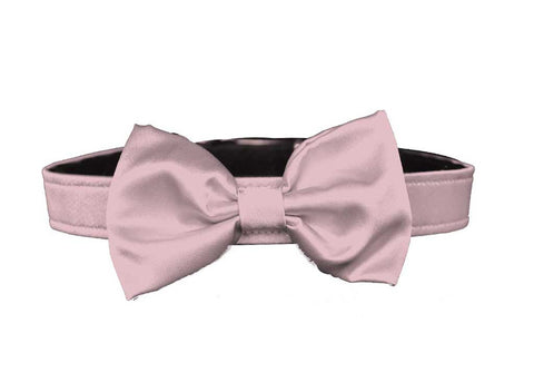 satin light pink bow tie set for dog in wedding
