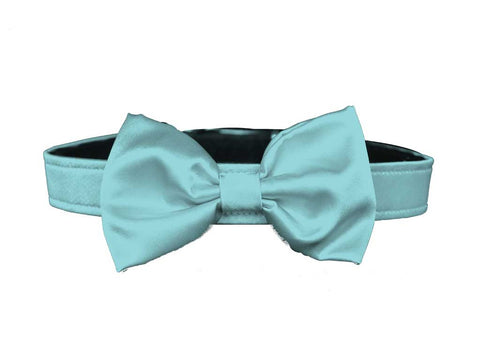 satin misty aqua blue bow tie for dog in wedding
