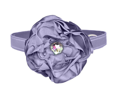 Satin Periwinkle Purple Flower Dog Collar Set