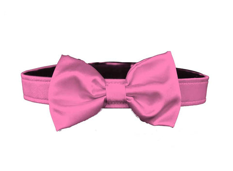 satin carnation pink bow tie for dog in wedding