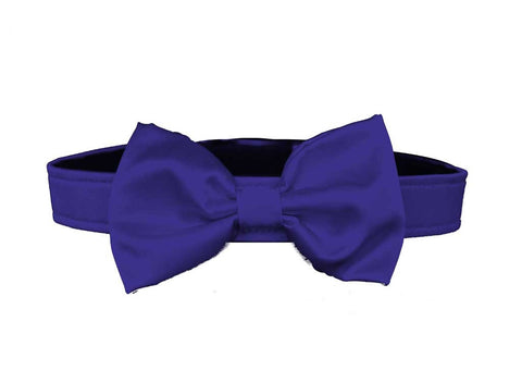 satin purple bow tie for dog in wedding
