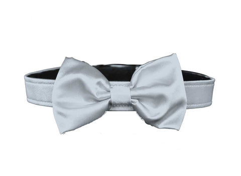 satin silver bow tie for dog in wedding