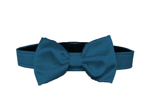 satin teal blue bow tie for dog in wedding