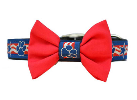 USA Dog Red Bow Tie Set