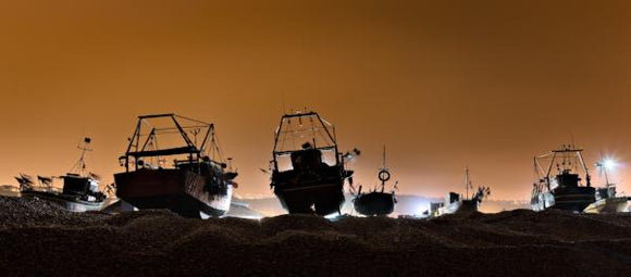 hastings trawlers at night
