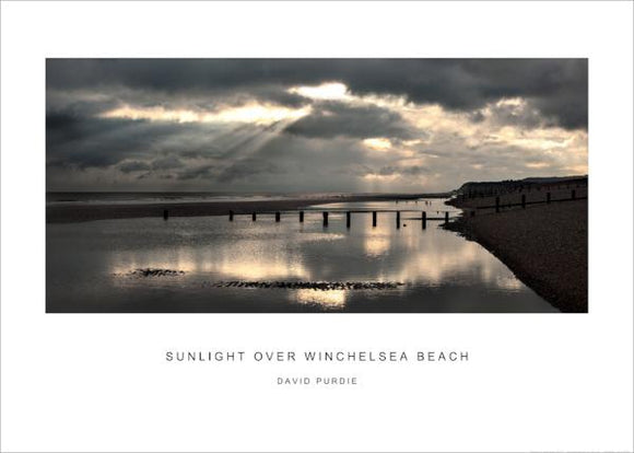 sunlight over winchelsea beach poster