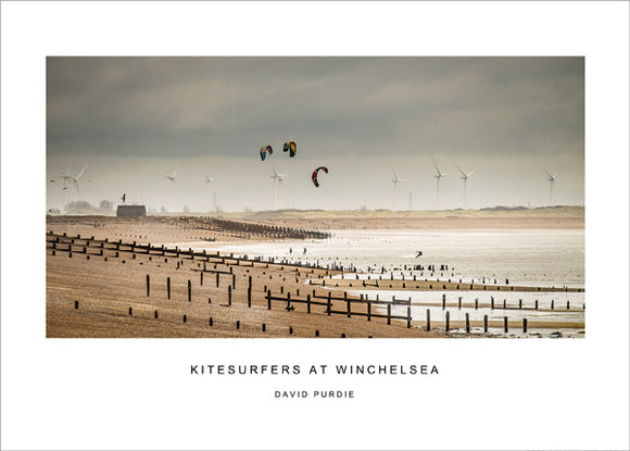 kitesurfers at winchelsea poster