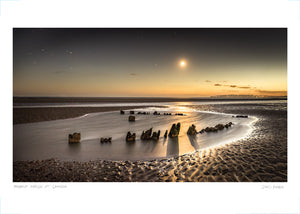camber wreck by moonlight poster