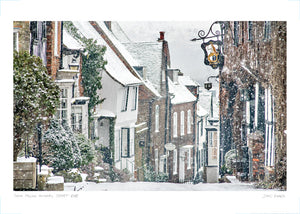 mermaid street snow falling poster