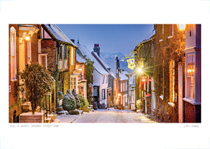 mermaid street snow at dusk poster