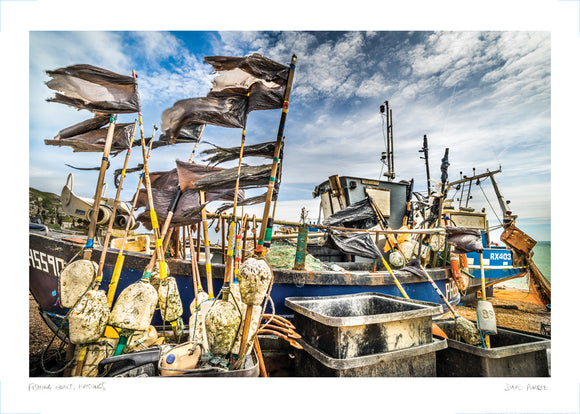 fishing boats in hastings poster