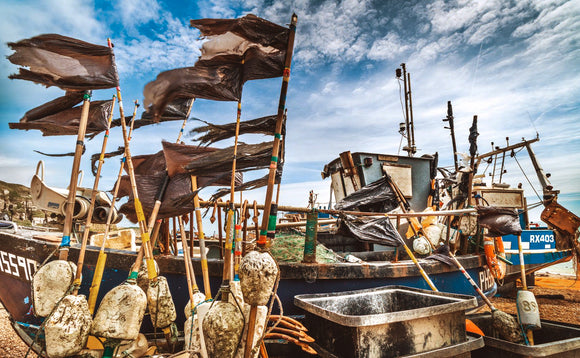 fishing boats hastings canvas