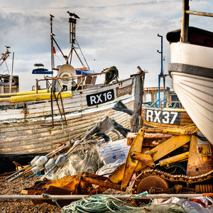 fishing boats on the beach at hastings