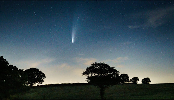 comet neowise over shirley moor canvas print