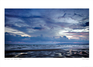 blue sunset at camber sands poster
