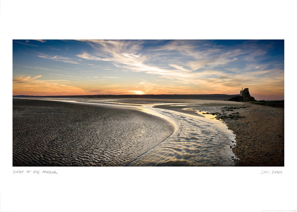 sunset at rye harbour poster