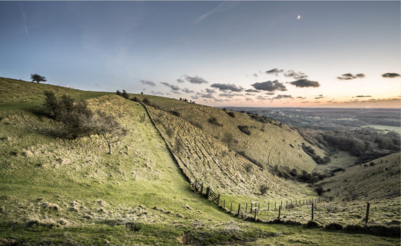 moon over kent downs near wye canvas print