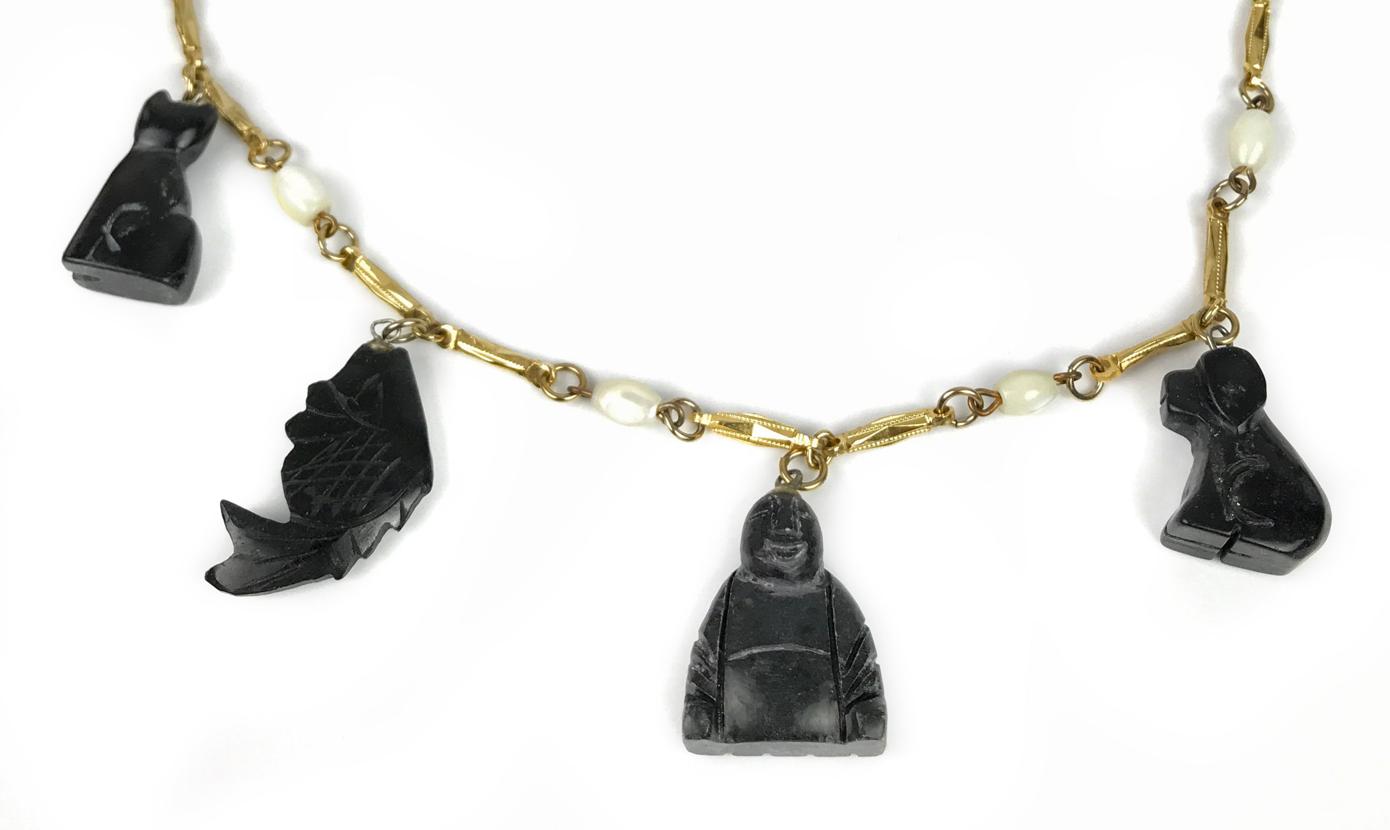Vintage Signed Hobe Carved Stone Animal & Buddha Gold tone Metal Neckalce with Original Tags-Abigail Prada