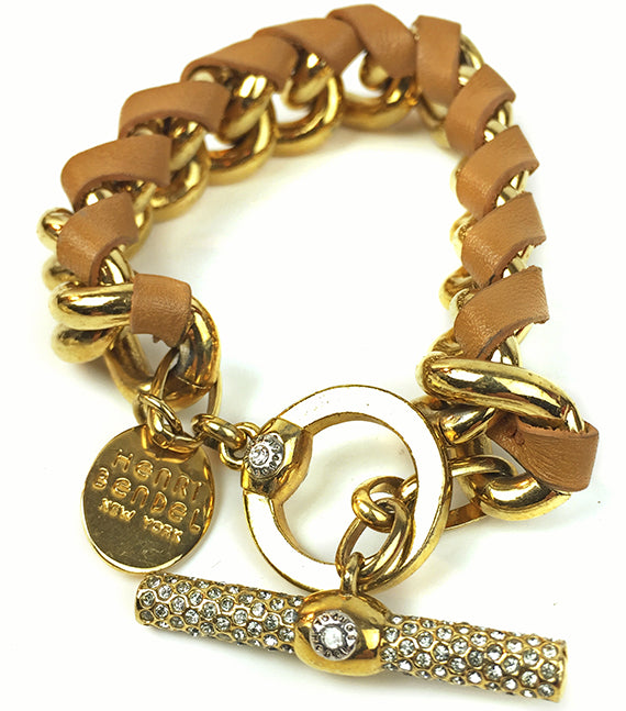 Vintage Henri Bendel Gold tone Metal Signed Rhinestone leather wrapped Metal Toggle Bracelet-Abigail Prada
