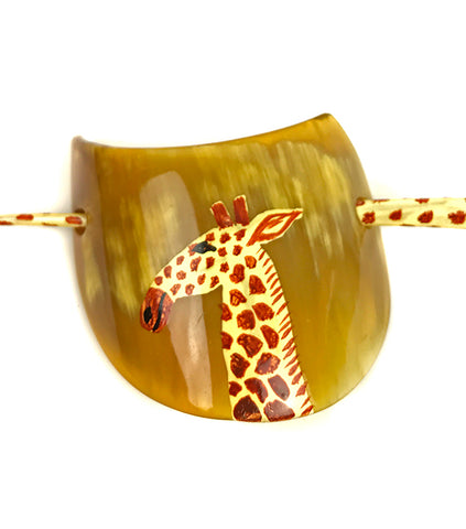 Vintage Lucite Hand Painted Giraffe Hair Barrette Clip Pony Tail Holder - Abigail Prada
