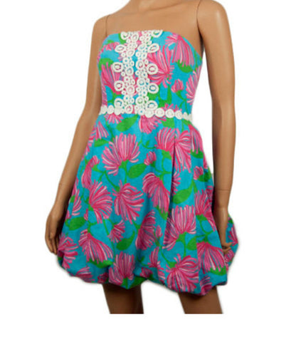 Lilly Pulitzer Original Petula Dress (Turquoise Kissue) Strapless Bubble Dress Size 2