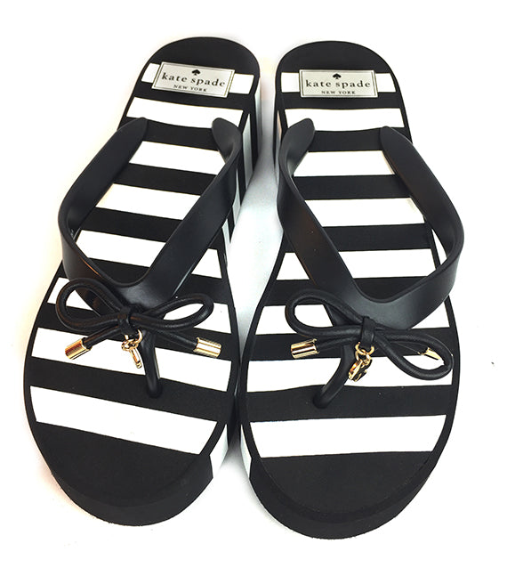 Kate Spade New York Rhett Wedge Flip Flops Sandals Black White Stripes Size 9M-Abigail Prada