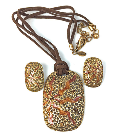 1970s Massive Luca Razzo Zodiac Series Leo the Lion Vintage Statement Pendant Necklace