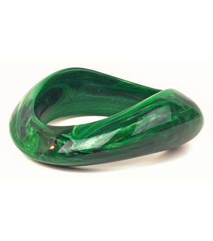 Vintage KJL Kenneth Lane Signed Acrylic Green Bangle Bracelet-Abigail Prada