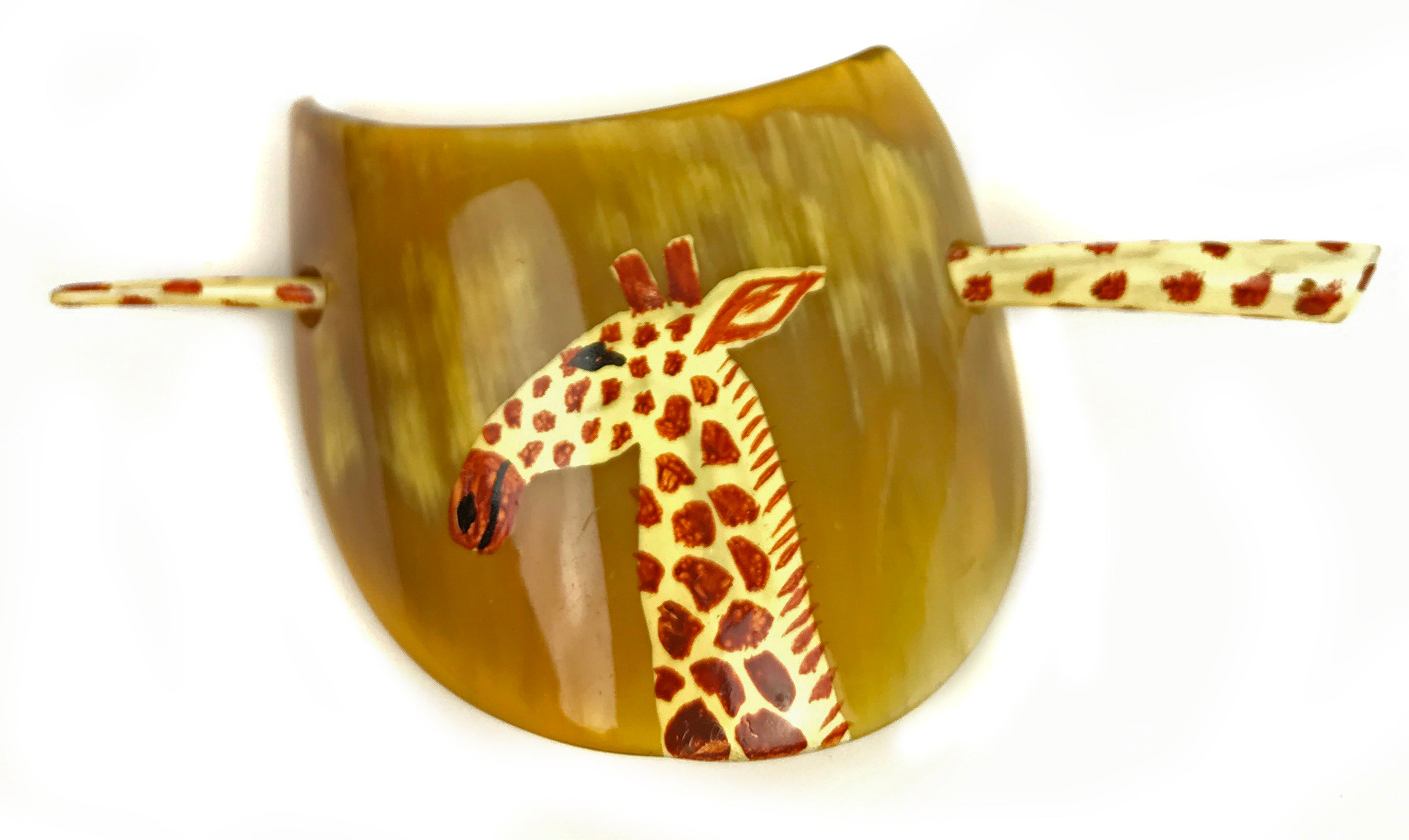 1e48016b08313 Vintage Lucite Hand Painted Giraffe Hair Barrette Clip Pony Tail Holder