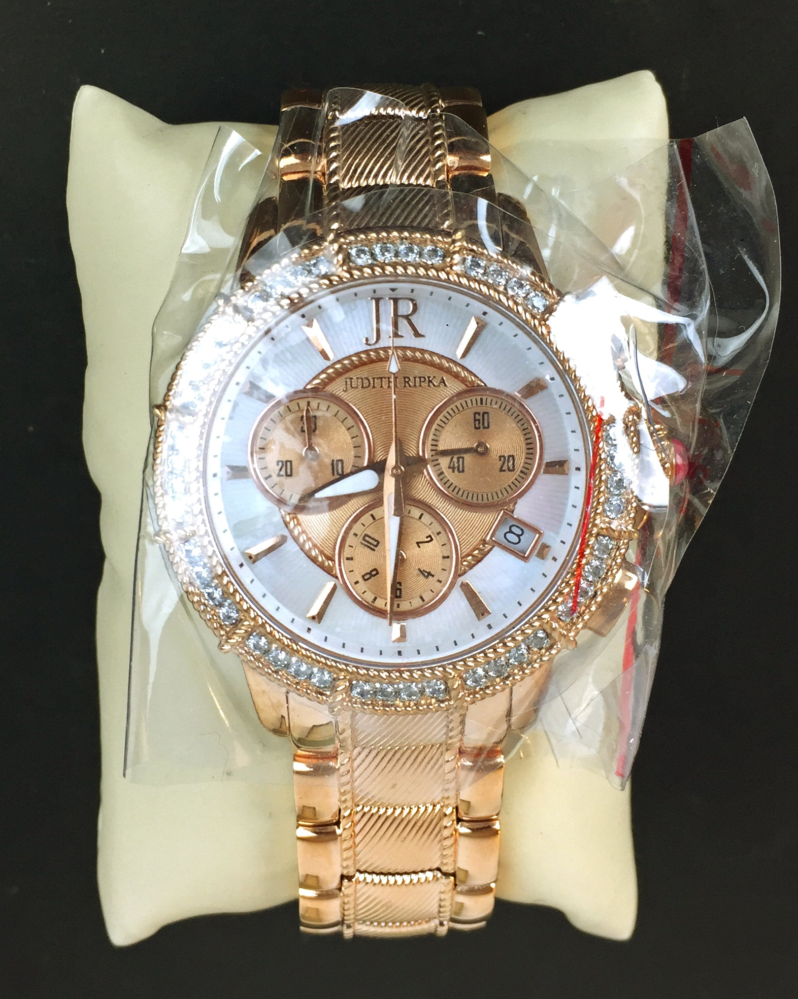 Judith Ripka  SS Diamonique Rose Gold tone Chronograph Womens Watch New - Abigail Prada