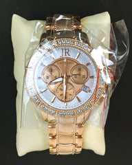 Judith Ripka SS Diamonique Rose Gold tone Chronograph Womens Watch New-Abigail Prada