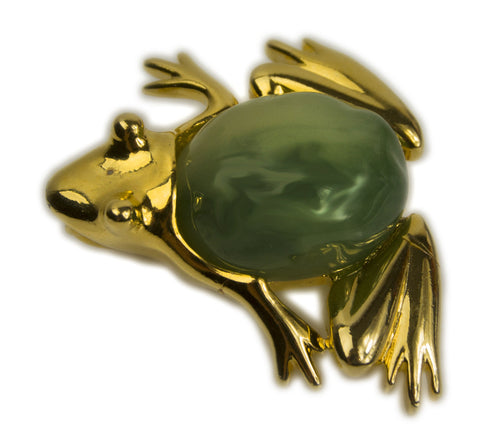 Vintage KLJ Kenneth Lane Frog Toad Gold Tone with Green Faux Jade Cabachon itageKLJ Kenneth Lane Frog Toad Gold Tone with Green Faux Jade Cabachon Pin Brooch with Bail-Abigail Prada