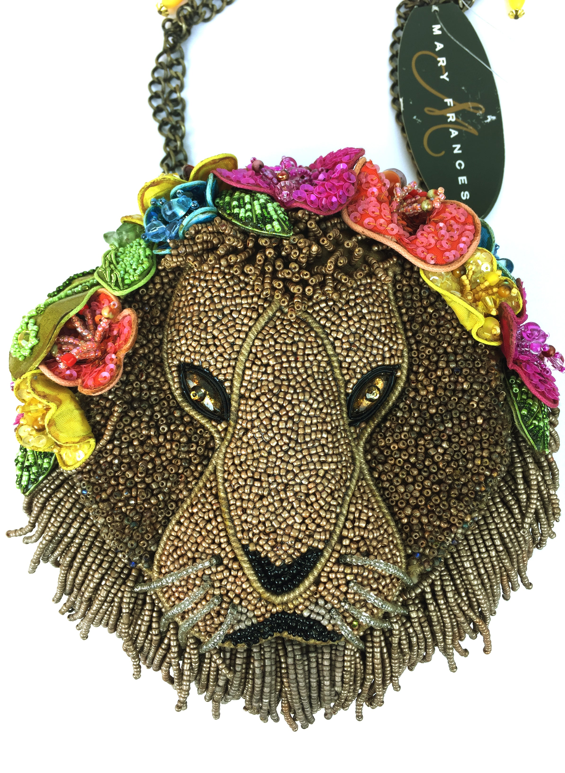 Mary Frances Beaded Floral Born Free Lion 11-381 Bag Purse- New-Abigail Prada