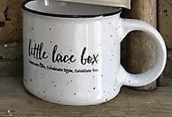 Little Lace Box Enamelware Ceramic Coffee Mug - WHITE, 13 oz