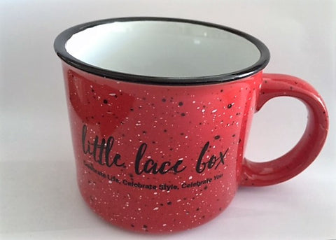 Little Lace Box Enamelware Ceramic Coffee Mug - RED, 13 oz