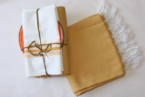 100% Turkish Cotton Picnic or Beach Blanket - Gold
