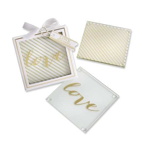 Kate Aspen Gold LOVE Coasters - Set of eight