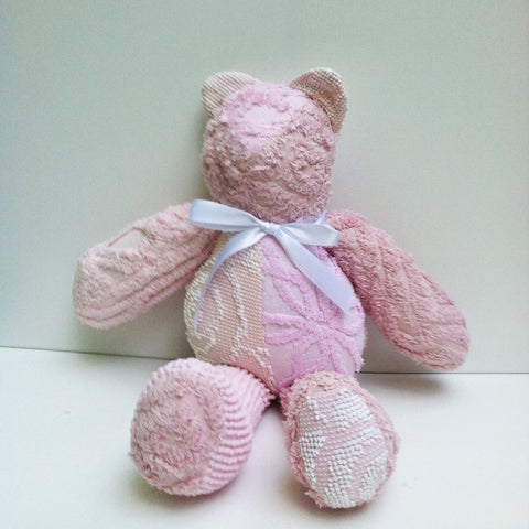 Vintage Chenille Bear Pinks 22""