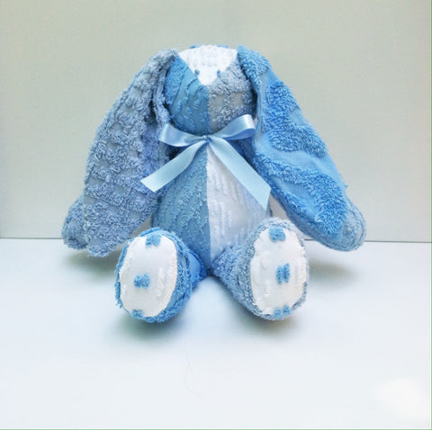 Vintage Chenille Bunny Blue 22""