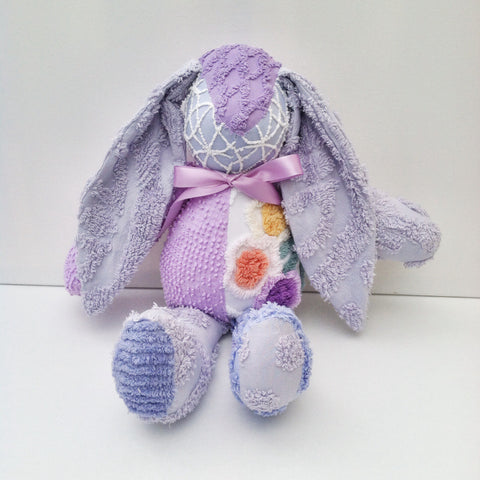 Vintage Chenille Bunny Lavender and Purples 22""