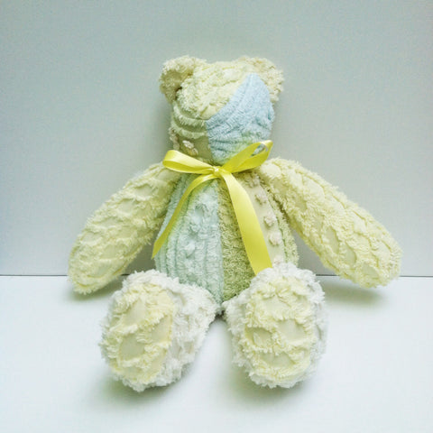Vintage Chenille Bear Yellows and Greens 22""