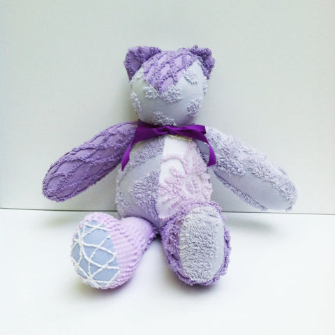 Vintage Chenille Bear Lavenders and Purples 22""