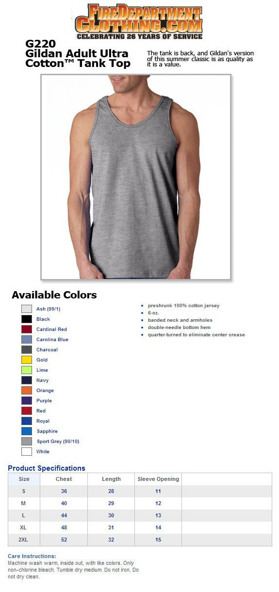 Fire Department Clothing Firefighter Tank Top Shirt Custom Screen Print Fireman Apparel and Shirts