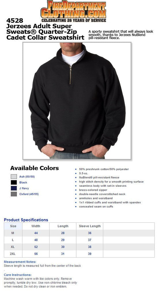 Fire Department Clothing Firefighter Quarter Zip Sweater Screen Print Fireman Shirts and Apparel