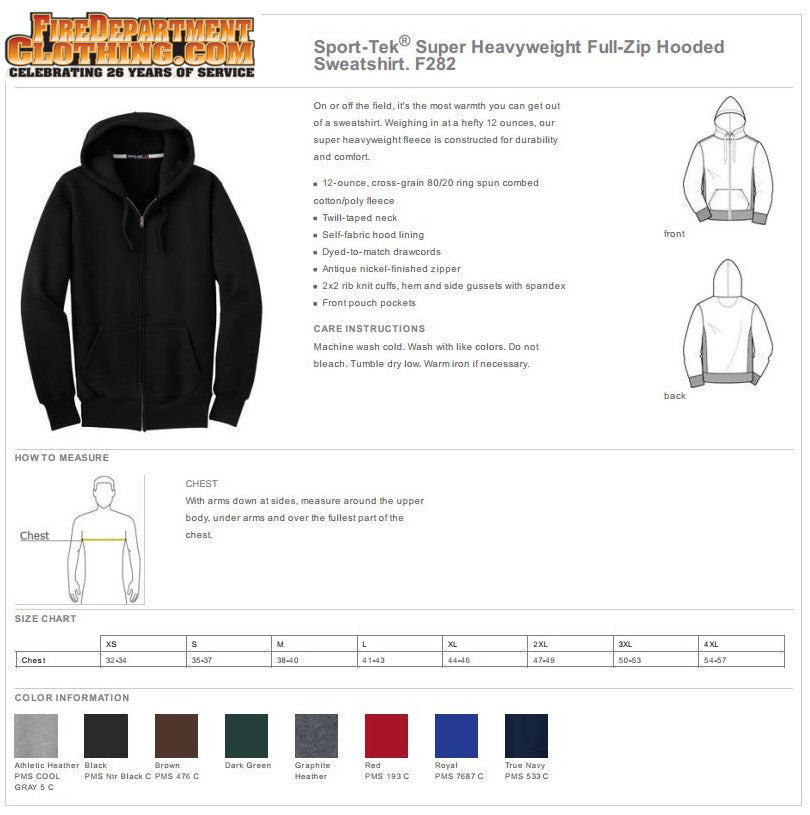 Fire Department Clothing Firefighter Heavyweight Full-Zip hoodie Sweatshirt Custom Screen Print Fireman Apparel
