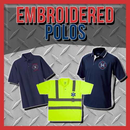 Custom Embroidered Polo Shirts for Firefighters and EMS