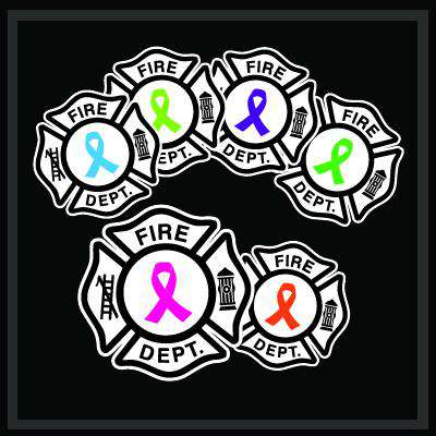 Digital Fire Department Awareness Ribbon Maltese Decal Set of 3 - DIG