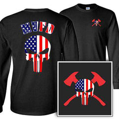 Customization Custom American Skull Longsleeve Shirt - Gildan G240 - DTGFire Department Clothing