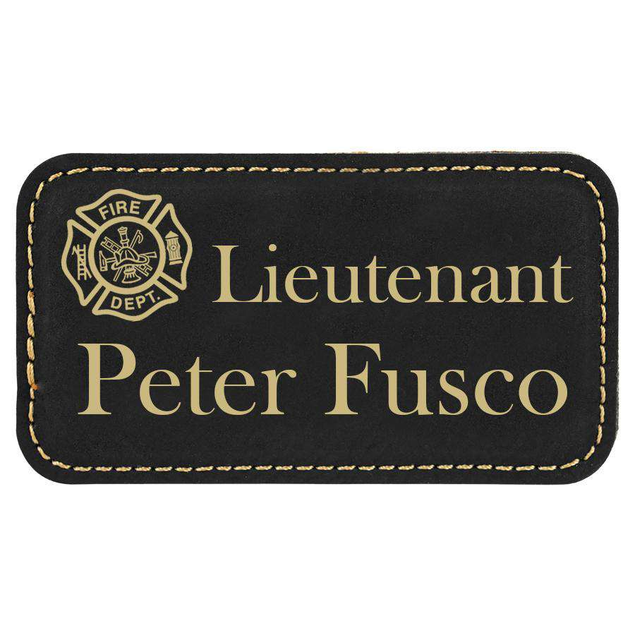 Laser Engraved Accesory Laserable Leatherette Badge with Magnet-BDG163-LZRFire Department Clothing